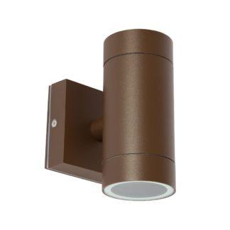 Φωτιστικό Αλουμινίου Τοίχου IP54 διπλής κατεύθυνσης (2xGU10) D65x145mm Καφε Χρώμα vk 75169-288997