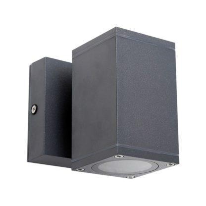Φωτιστικό Αλουμινίου Τοίχου IP54 μονής κατεύθυνσης για λάμπες GU10 60x108x60+45mm Ανθρακί Χρώμα VK 75169-218997-