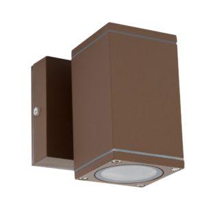 Φωτιστικό Αλουμινίου Τοίχου IP54 μονής κατεύθυνσης για λάμπες GU10 60x108x60+45mm Καφε Χρώμα VK 75169-283997