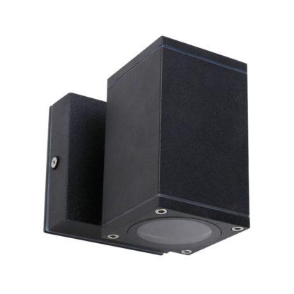 Φωτιστικό Αλουμινίου Τοίχου IP54 μονής κατεύθυνσης για λάμπες GU10 60x108x60+45mm Μαύρο Χρώμα VK 75169-217997