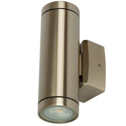 Φωτιστικό Ορειχάλκινο Τοίχου IP65 διπλής κατεύθυνσης 2xGU10 D60x180mm Νίκελ Μάτ VK 74168-200677