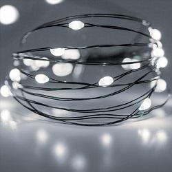 Φωτάκια σε πράσινο συρμα 100 LEDs σε ψυχρό λευκό φως με τροφοδοτικό & Controller με 8 λειτουργίες 27-00216