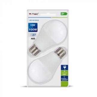 Λάμπα LED E27 A65 SMD 15W Λευκό 6400K Λευκό Blister 2 τμχ. V-TAC 7302