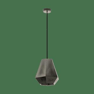 Κρεμαστό φωτιστικό μονόφωτο Φ36mm μεταλλικό σε νίκελ Eglo CHIAVICA 43223