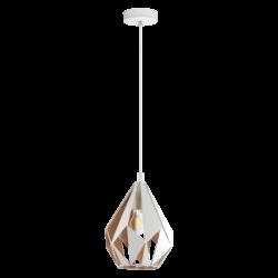 Κρεμαστό φωτιστικό μονόφωτο 1 x E27 σε λευκό & χρυσό χρώμα  Eglo Carlton 1 43001