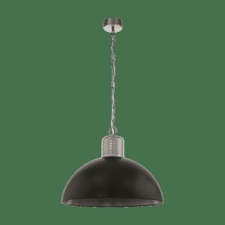 Κρεμαστό φωτιστικό μονόφωτο 1x E27 Ø53cm σε σκούρο γκρι-μαύρο χρώμα Eglo COLDRIDGE 49106