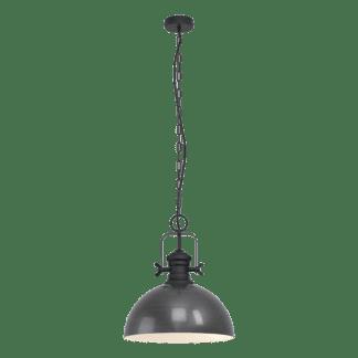 Κρεμαστό φωτιστικό μονόφωτο 1xE27 Φ40mm σε νίκελ αντικέ Eglo Combwich 43052