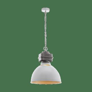 Κρεμαστό φωτιστικό μονόφωτο 1xE27 Φ460mm σε χρώμα γκρι & χρυσό Eglo Rockingham 49868