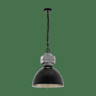 Κρεμαστό φωτιστικό μονόφωτο 1xE27 Φ460mm σε χρώμα μαύρο & γκρι Eglo Rockingham 49869