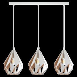 Κρεμαστό φωτιστικό τρίφωτο  3 x E27 σε λευκό & χρυσό χρώμα  Eglo Carlton 1 43002