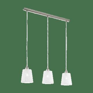 Κρεμαστό φωτιστικό τρίφωτο 3xΕ27 σε νικελ λευκό Eglo Hambleton 49614