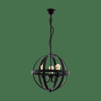 Κρεμαστό φωτιστικό τρίφωτο 3xE27 Ø50cm σε μαύρο χρώμα Eglo Barnaby 49517
