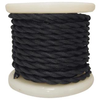 Υφασμάτινο καλώδιο στριφτό VINTAGE σε μαύρο χρώμα διατομής 2Χ0.75mm² EL338006