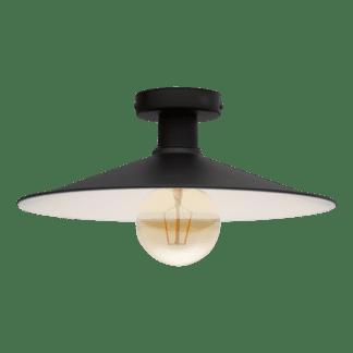 Φωτιστικό Οροφής-Πλαφονιέρα μονόφωτο 1xE27 Φ360mm σε μαύρο χρώμα Eglo Broughton 43003