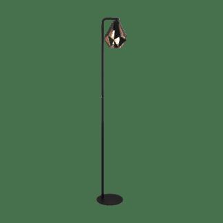 Φωτιστικό δαπέδου σε χρώμα μαύρο με χαλκό E27 Eglo Carlton 4 43059