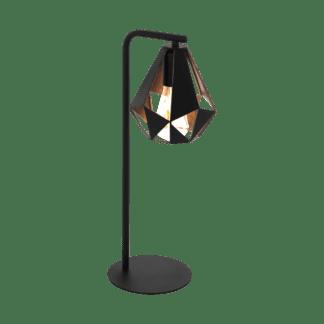 Φωτιστικό επιτραπέζιο σε χρώμα μαύρο με χαλκό E27 Eglo Carlton 4 43058