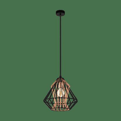 Φωτιστικό κρεμαστό Φ390mm Ε27 σε μαύρο με χαλκό χρώμα Eglo Dreadfort 43056