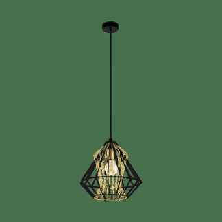 Φωτιστικό κρεμαστό Φ390mm Ε27 σε μαύρο με χρυσό χρώμα Eglo Dreadfort 43118