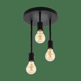 Φωτιστικό οροφής-Πλαφονιέρα τρίφωτο 3xE27 σε μαύρο χρώμα Wilmcote 43126 Eglo