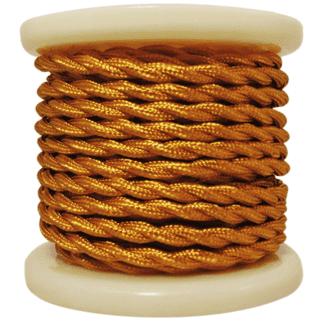 Υφασμάτινο καλώδιο στριφτό σε χρυσό γυαλιστερό χρώμα διατομής 2Χ0.75mm² 10m EL338003