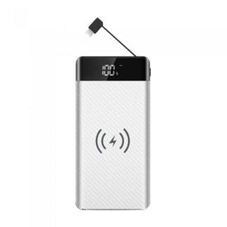 Wireless Power Bank 20000mAh με λευκό σώμα και ενσωματωμένο καλώδιο micro USB V-TAC 8860