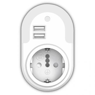 LED φωτιστικό νυκτός 0.5W 3000k θερμό λευκό φως 12lm με αισθητήρα ημέρας νύχτας με 2 θύρες USB & πρίζα σούκου EL130101