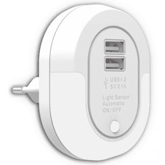 LED φωτιστικό νυκτός 0.5W 3000k θερμό λευκό φως 12lm με αισθητήρα ημέρας νύχτας& 2 θύρες USB EL130801--