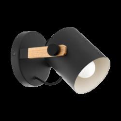 Απλίκα τοίχου μονόφωτο 1x E27 σε μαύρο χρώμα & ξύλο με ρυθμιζόμενη κεφαλή Eglo HORNWOOD 43046