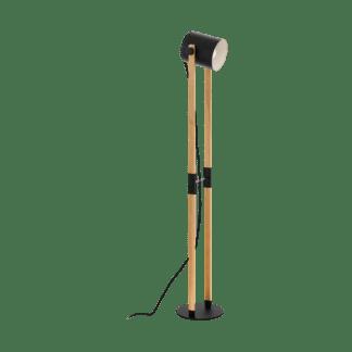 Επιδαπέδιο φωτιστικό μονόφωτο 1x E27 σε μαύρο χρώμα & ξύλο με ρυθμιζόμενη κεφαλή Eglo HORNWOOD 43048