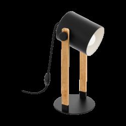 Επιτράπεζιο φωτιστικό μονόφωτο 1x E27 σε μαύρο χρώμα & ξύλο με ρυθμιζόμενη κεφαλή  Eglo HORNWOOD 43047