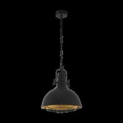 Κρεμαστό φωτιστικό μονόφωτο 1xE27 από ατσάλι σε μαύρο & χρυσό χρώμα Eglo CANNINGTON  49742