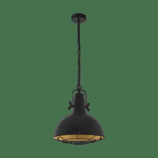 Κρεμαστό φωτιστικό μονόφωτο 1xE27 από ατσάλι σε μάυρο & χρυσό χρώμα Eglo CANNINGTON 49742