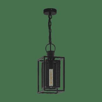 Κρεμαστό φωτιστικό μονόφωτο 1xE27 μεταλλικό σε μαύρο πλέγμα Eglo APETON 43039