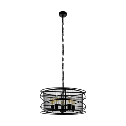 Κρεμαστό φωτιστικό πεντάφωτο 5xE27 60W μεταλλικό σε μαύρο πλέγμα Eglo APETON 43093