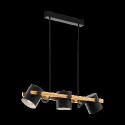 Κρεμαστό φωτιστικό τρίφωτο 1x E27 σε μαύρο χρώμα & ξύλο με ρυθμιζόμενη κεφαλή Eglo HORNWOOD 43045