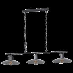 Κρεμαστό φωτιστικό τρίφωτο 3x E27 60W μεταλλικό μαύρο χρώμα & νίκελ ματ Eglo KENILWORTH 43205