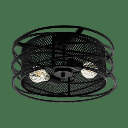 Πλαφονιέρα-φωτιστικό οροφής δίφωτο 2xE27 μεταλλικό σε μαύρο πλέγμα Eglo APETON 43091