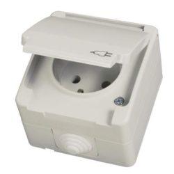 Πρίζα επιτοίχια σούκο με καπάκι IP54 σε λευκό χρώμα 670-224110017
