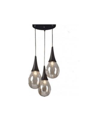 Κρεμαστό φωτιστικό τρίφωτο 3xE14 από μέταλλο και γυαλί σε μάυρο χρώμα Avantgarde Aca OD53423RBK