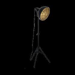 Επιδαπέδιο φωτιστικό μονόφωτο 1xE27 από ατσάλι σε μαύρο & χρυσό χρώμα Eglo CANNINGTON 49674