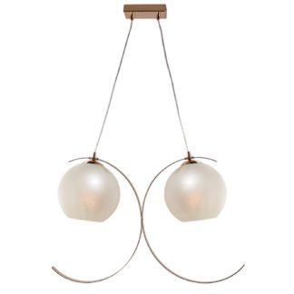 Κρεμαστό φωτιστικό δίφωτο Iparelle από μέταλλο & γυαλί σε χρώμα χρυσό/λευκό περλέ Aca DCR17502P