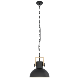 Κρεμαστό φωτιστικό μονόφωτο 1x E27 από μέταλλο & ξύλο σε μαύρο/κρεμ χρώμα Eglo LUBENHAM 43162