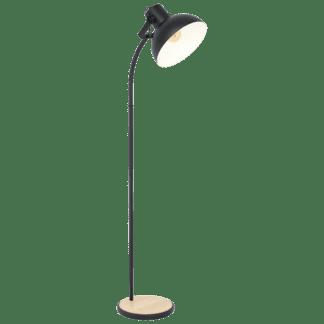 Επιδαπέδιο φωτιστικό μονόφωτο 1x E27 28W από μέταλλο & ξύλο σε μαύρο/κρεμ χρώμα Eglo LUBENHAM 43166