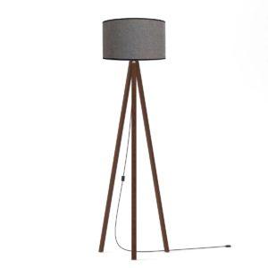 Επιδαπέδιο φωτιστικό 40x150cm σε χρώμα γκρί με υφασμάτινο καπέλο και ξύλινη βάση σε χρώμα σκούρο καφέ MEC-2710-1GREY
