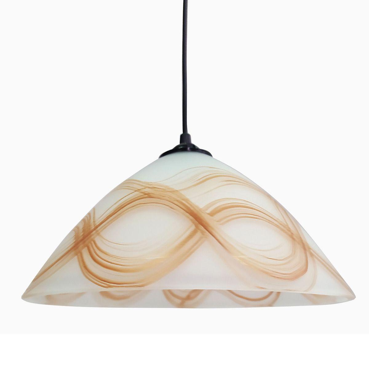 Κρεμαστό φωτιστικό γυάλινο σε χρώμα λευκό με μελί ρίγες & διάμετρο 30cm MEC-1147F30HONEY