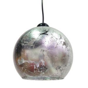 Κρεμαστό φωτιστικό γυάλινο 19cm σε σχήμα μπάλα με ασημένιο φύλλο MEC-1910-28
