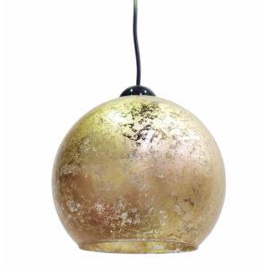 Κρεμαστό φωτιστικό γυάλινο 19cm σε σχήμα μπάλα με χρυσό φύλλο MEC-1910-31