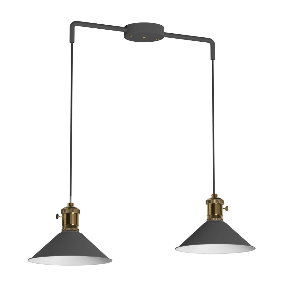 Κρεμαστό φωτιστικό δίφωτο 2xE27 σε χρώμα γκρί με μπρονζέ λεπτομέρειες DB-MA0056-2