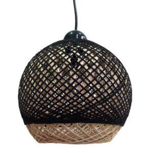 Κρεμαστό φωτιστικό μονόφωτο με ψάθα σε χρώμα καφέ-μαύρο, διάμετρος 22cm MEC-2210-20
