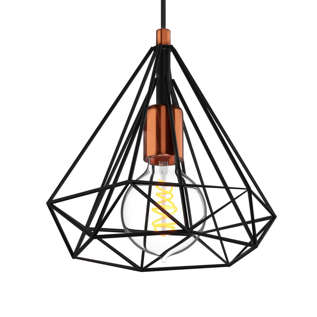 Κρεμαστό φωτιστικό μονόφωτο 22x25cm μεταλλικό σε μαύρο χρώμα MEC-176525